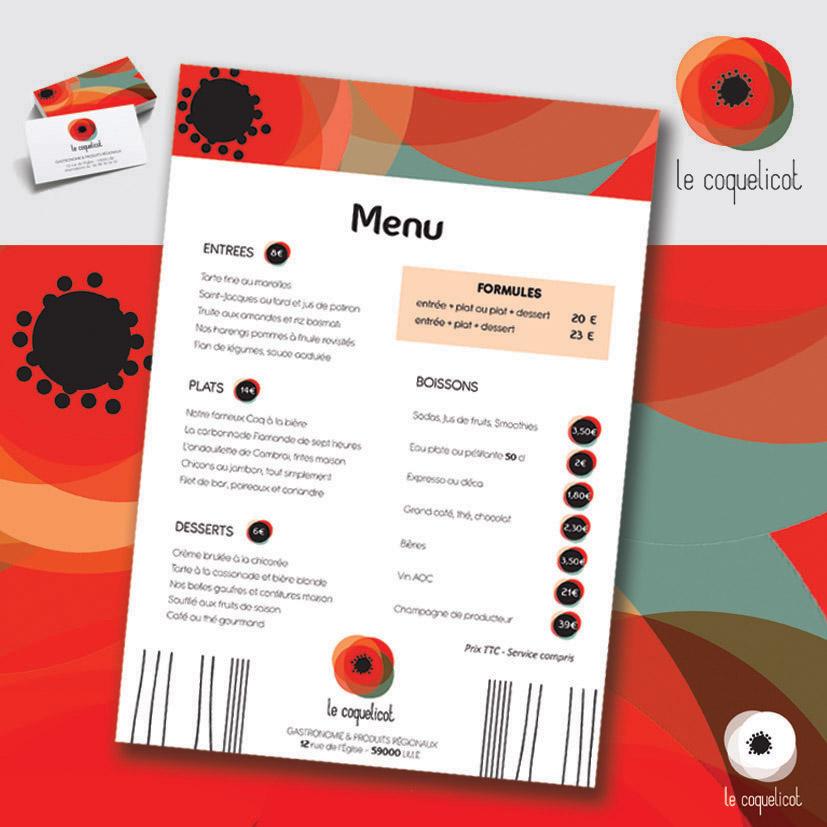 Le coquelicot - identité visuelle d'un restaurant